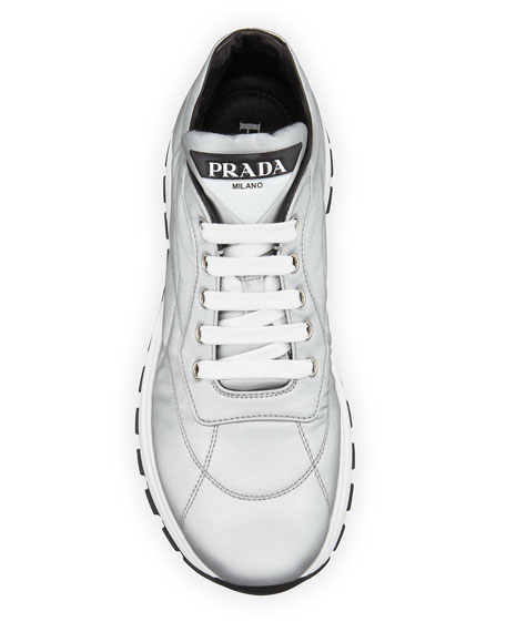 Image 3 of 3: Prada Metallic Nylon Lace-Up Trainer Sneakers