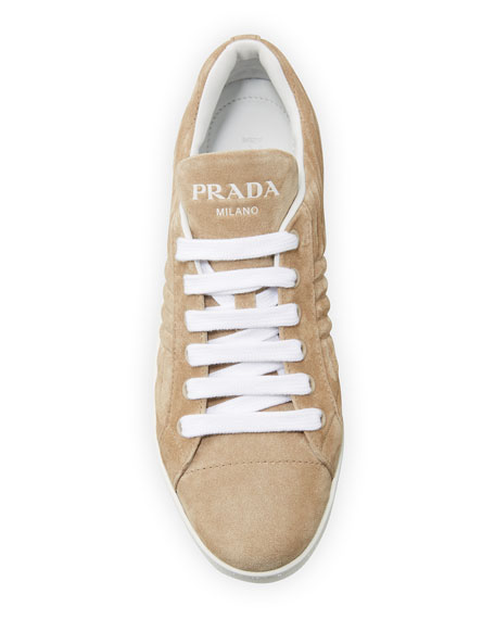 Prada Quilted Suede Low-Top Sneakers