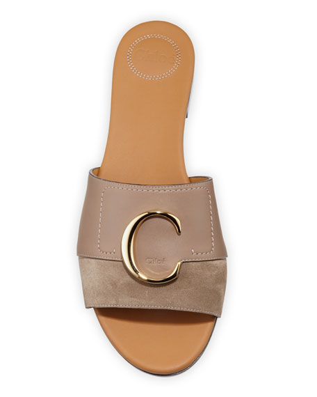 Chloe C Flat Leather Slide Sandals