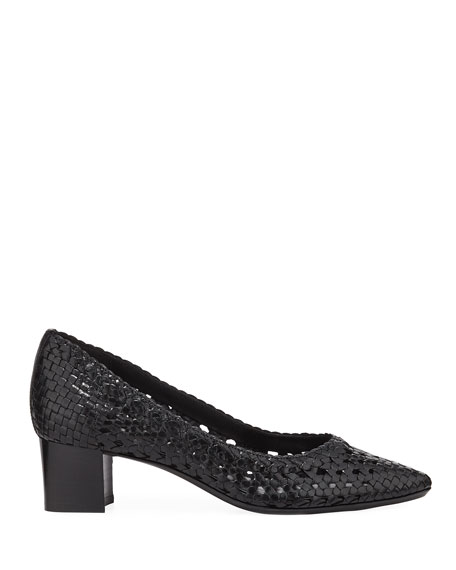 Aquatalia Pasha Woven Leather Block-Heel Pumps