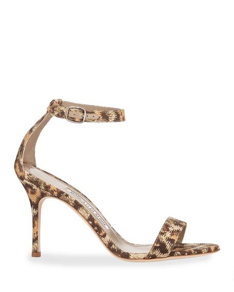 Manolo Blahnik Chaos Printed Fabric Sandals