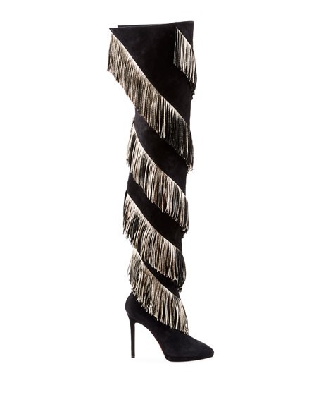 Christian Louboutin Bolcheva Fringe Red Sole Knee Boots