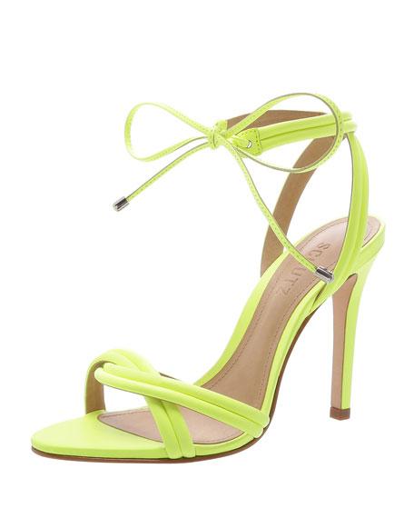 Schutz Yvi Twisted Leather Ankle-Tie Sandals