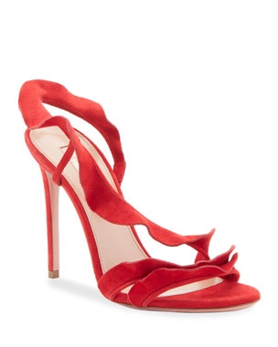 5fd3e8ecd4bf Aquazzura Ruffle Suede Sandals