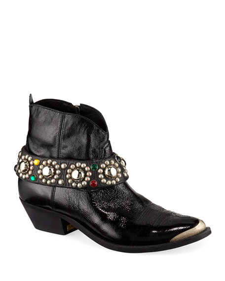 Golden Goose Young Western Ankle Boots with Studded Belt