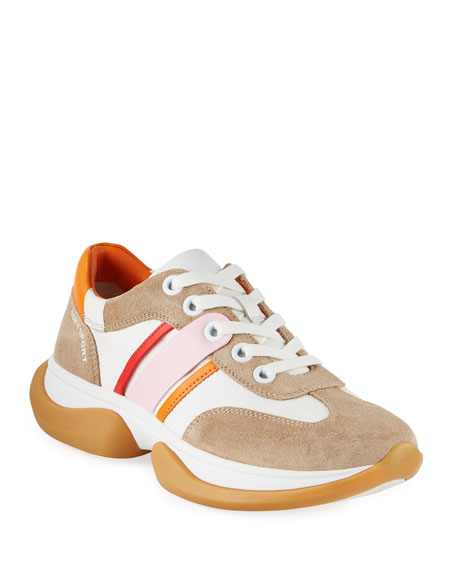 Tory Sport Striped Lace-Up Suede Sneakers