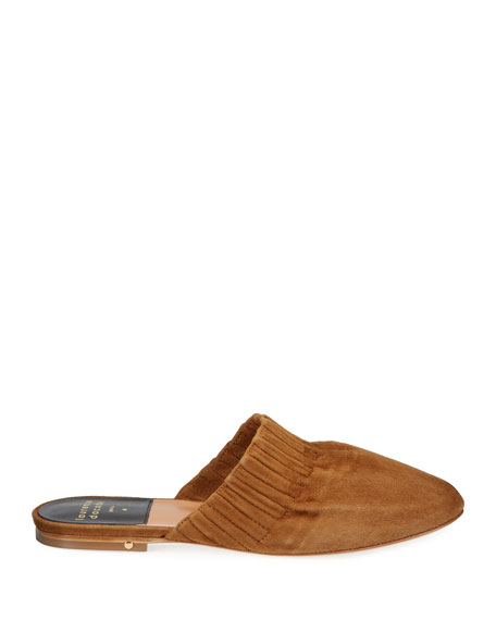 Image 2 of 3: Laurence Dacade Ruched Flat Suede Mules