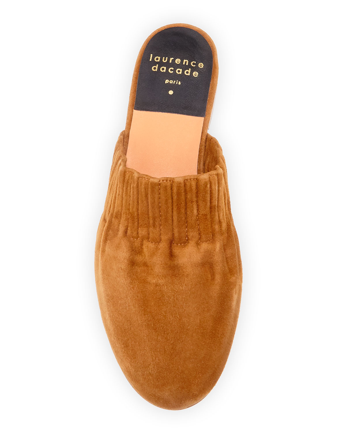 Ruched Flat Suede Mules by Laurence Dacade
