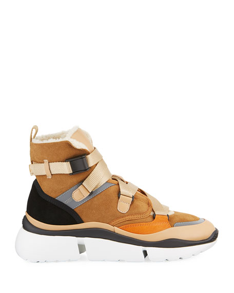 Chloe Sonnie Suede Shearling-Lined High-Top Sneakers