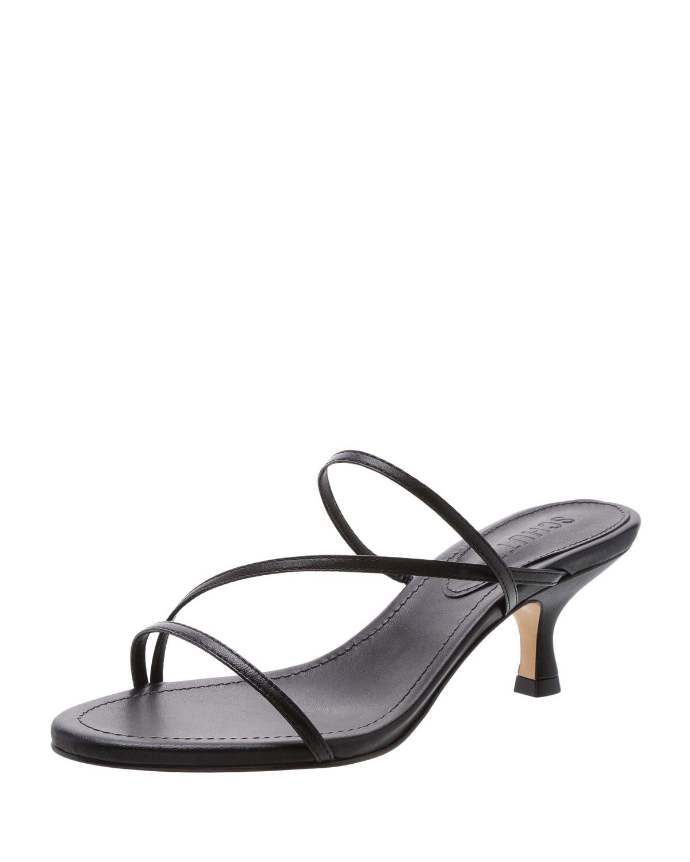 b1e39616fd Schutz Evenise Strappy Kitten-Heel Leather Sandals | Neiman Marcus