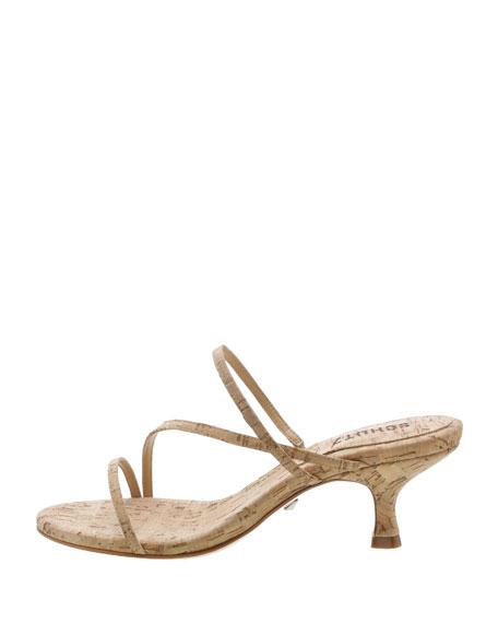 Schutz Evenise Strappy Kitten-Heel Cork Sandals