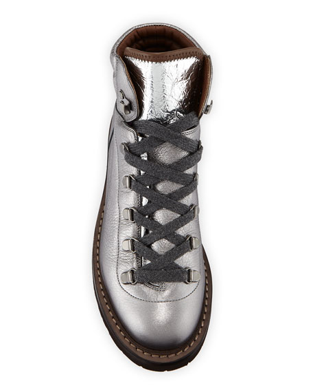 Brunello Cucinelli Metallic Leather Lace-Up Hiking Boots