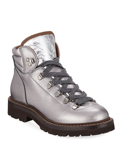 Metallic Leather Lace-Up Hiking Boots