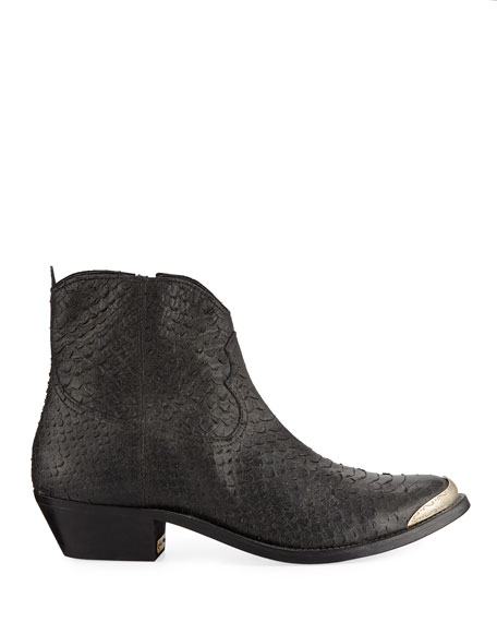 Golden Goose Young Python-Print Zip Booties