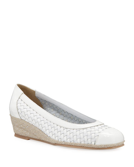 Sesto Meucci Minty Woven Patent Demi-Wedge Pumps, White
