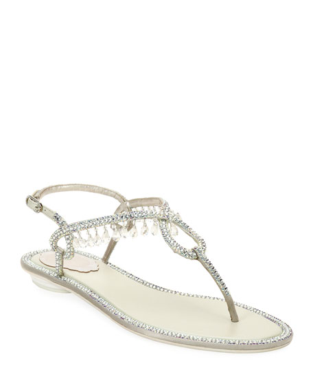 Rene Caovilla Flat Thong Sandals with Crystal Drops