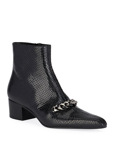 Snake-Embossed Chain Ankle Booties
