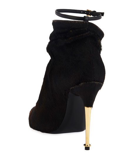TOM FORD Leopard Calf Hair Ankle-Strap Booties