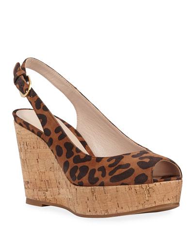 Jean Leopard Slingback Wedge Sandals