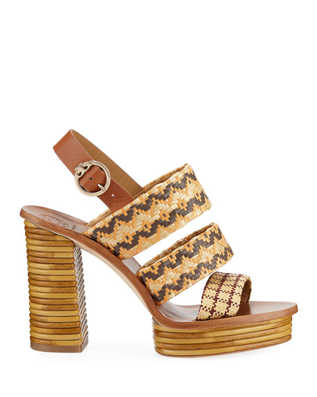 Tory Burch Patos Woven Raffia Platform Sandals