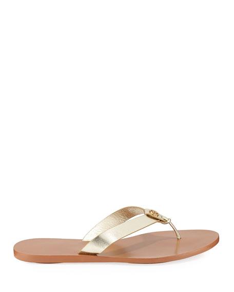 Tory Burch Manon Metallic Leather Thong Sandals