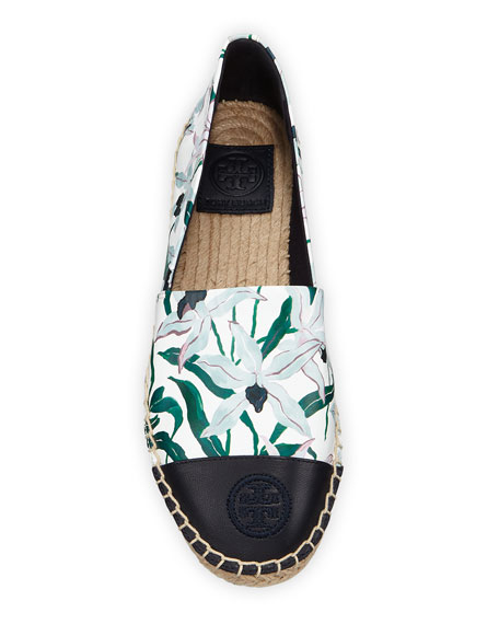 Tory Burch Printed Leather Slip-On Espadrilles