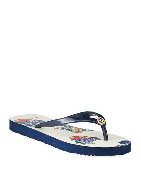 Tory Burch Striped Flat Thong Sandals