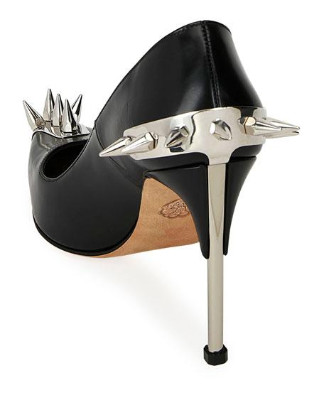 Alexander McQueen Metallic Spike-Studded Leather Pumps