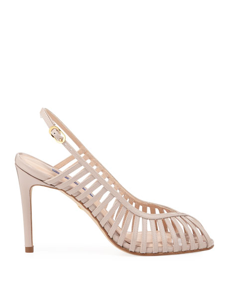Stuart Weitzman Olive Peep-Toe Patent Slingback Sandals