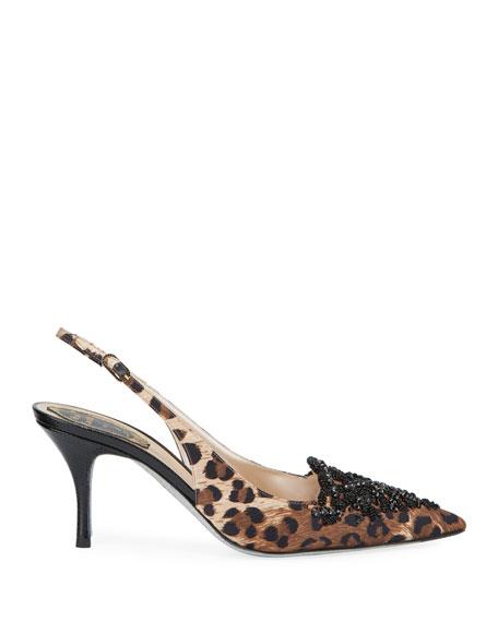 Rene Caovilla Leopard-Print Embellished Pumps