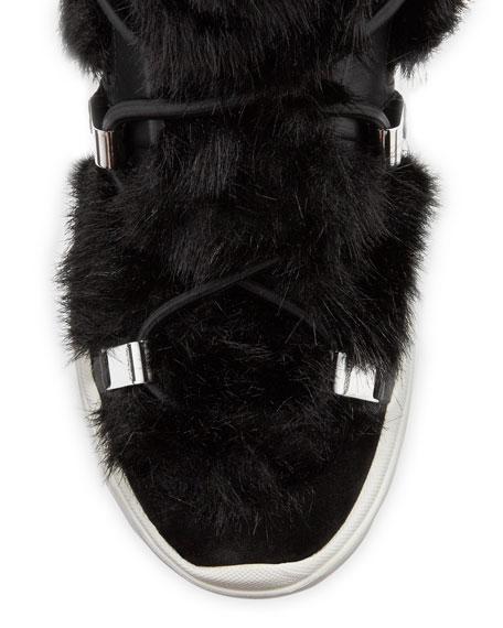 Moncler Tilda Leather Faux-Fur Lace-Up Boots