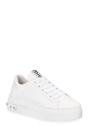 Miu Miu Patent Leather Sneakers with Crystal Heel