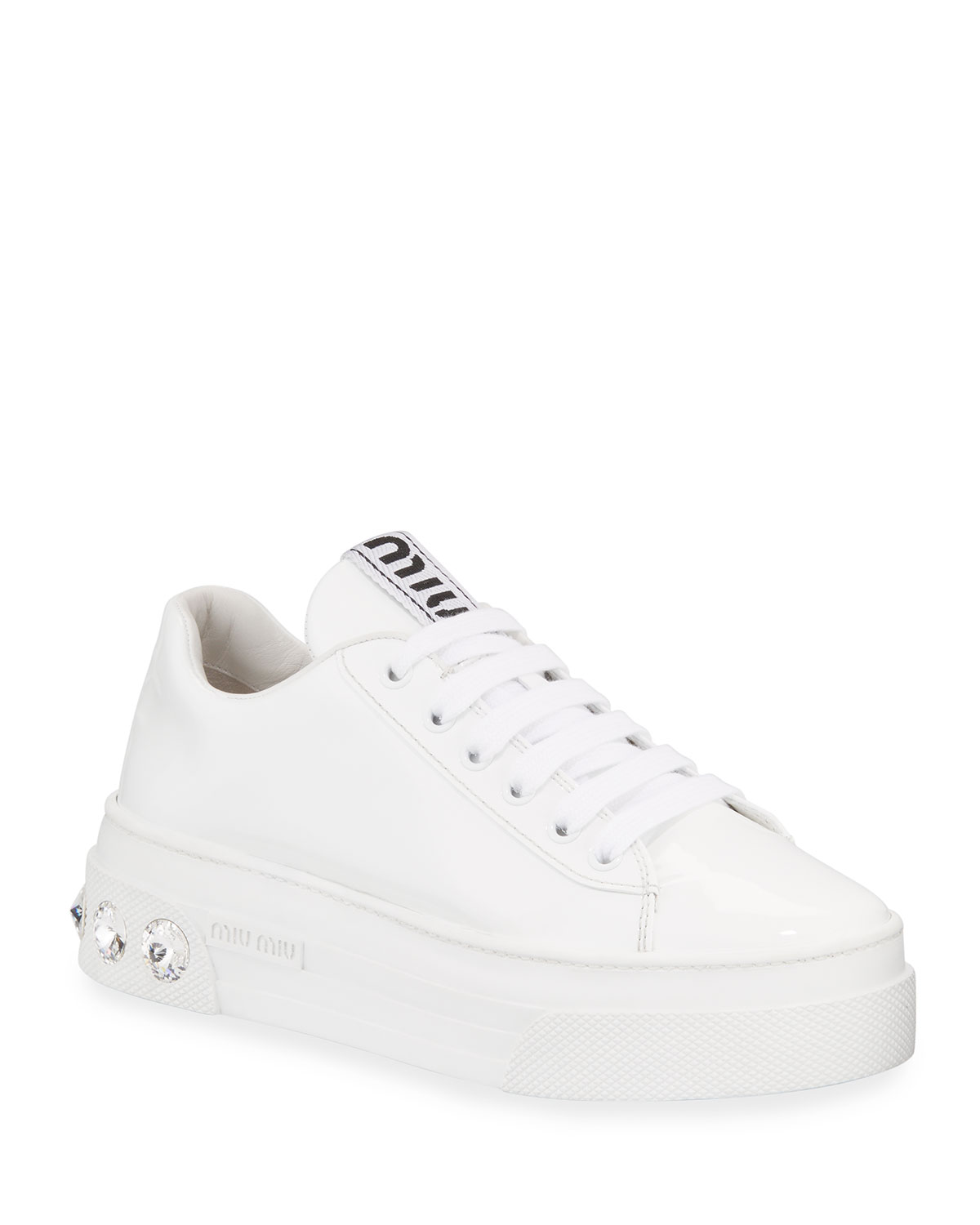 Patent Leather Sneakers With Crystal Heel by Miu Miu
