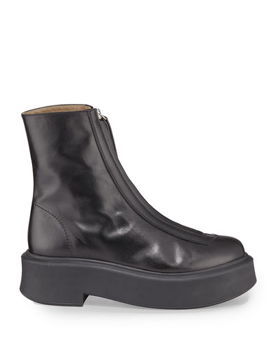 Zipped Boot I Smooth Leather Platform Bootie  Black
