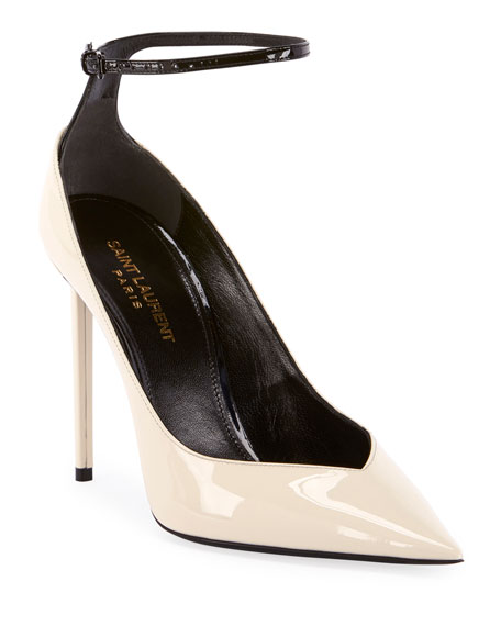 Image 1 of 4: Zoe Shiny Ankle-Strap Pumps