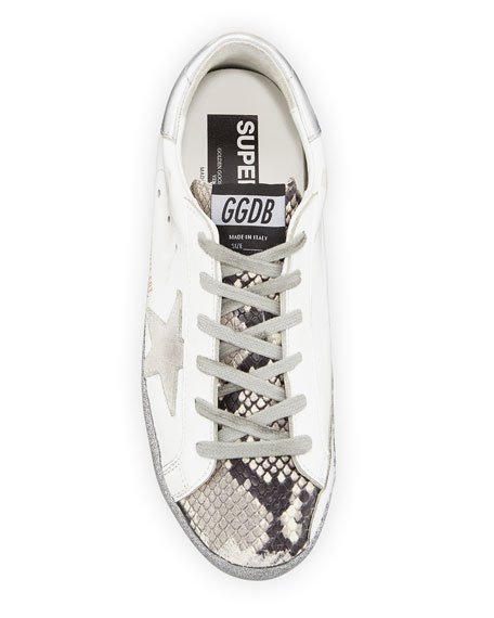 Golden Goose Superstar Snake-Print and Glitter Sneakers
