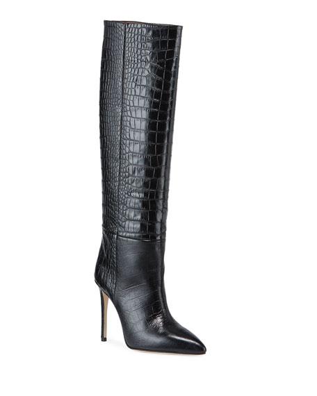 Paris Texas Croc-Embossed Leather Stiletto Boots