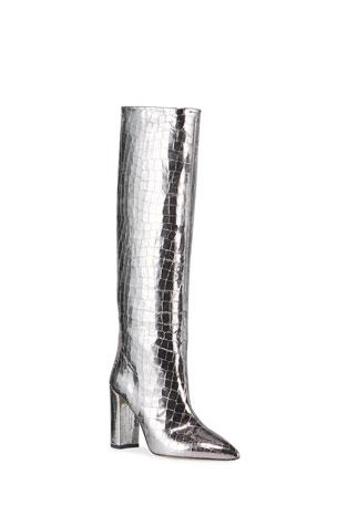 Paris Texas Metallic Croc-Embossed Leather Knee Boots
