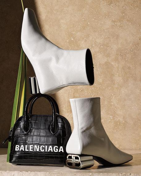 Balenciaga Typo Shiny Leather Booties