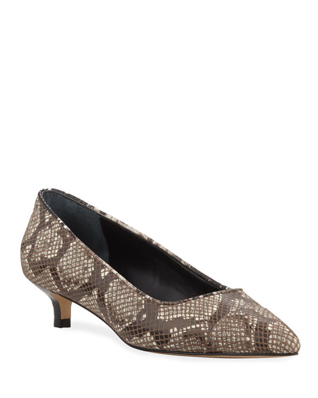 Donald J Pliner Ibiz Python-Print Leather Kitten Heel Pumps