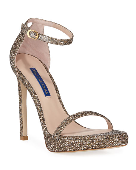 Stuart Weitzman Glitter Tweed Nudist Sandals 120 In Silver