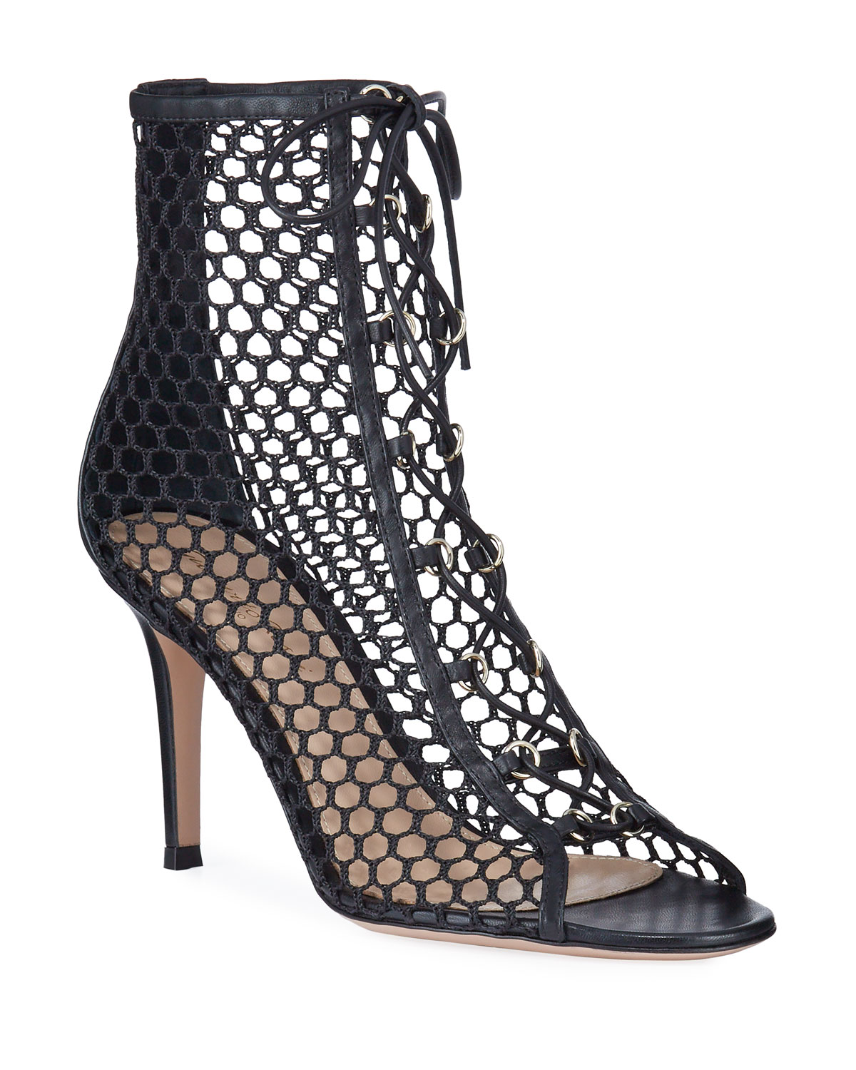 open-toe-fishnet-lace-up-booties by gianvito-rossi