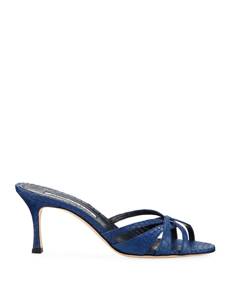 Image 2 of 3: Manolo Blahnik Macula Snakeskin Slide Sandals