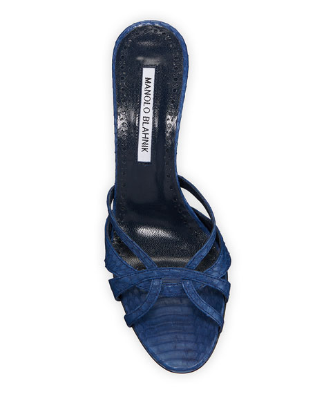 Image 3 of 3: Manolo Blahnik Macula Snakeskin Slide Sandals
