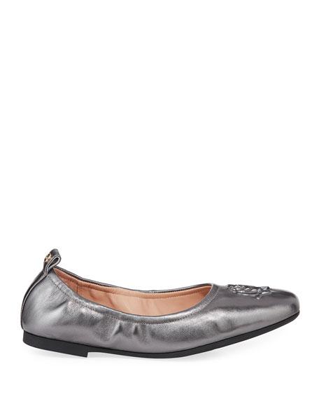 Taryn Rose Raquel Rose Weatherproof Metallic Leather Ballet Flats