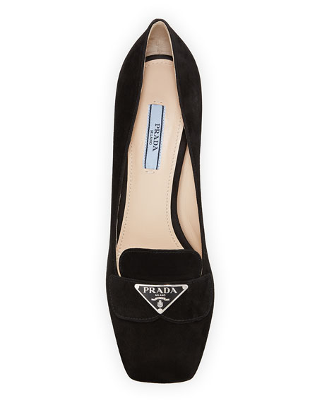 Prada Suede Logo Loafer Pumps