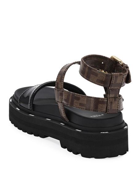 Fendi Flatform FF Ankle-Strap Sandals