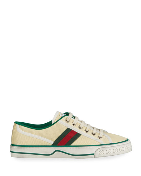 Image 2 of 4: Gucci Vulcan 78 Tweed Web Strap Tennis Sneakers