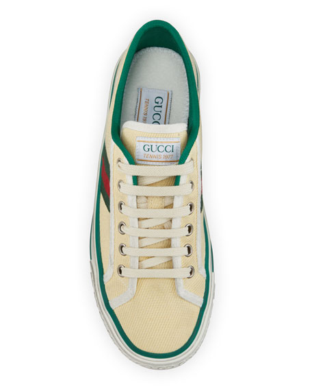 Image 3 of 4: Gucci Vulcan 78 Tweed Web Strap Tennis Sneakers