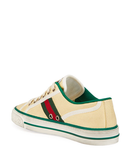 Image 4 of 4: Gucci Vulcan 78 Tweed Web Strap Tennis Sneakers
